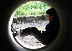 wandering child in tunnel